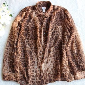 Chico's Leopard Blouse Long Sleeve Hidden Button
